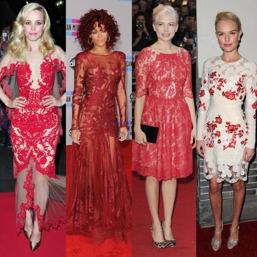 Rochia roşie din dantelă, sexy şi feminină