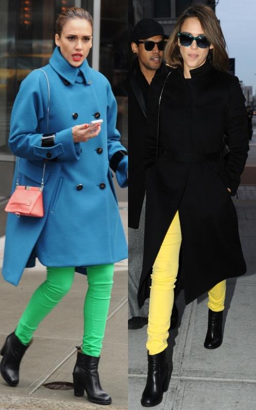 Jessica Alba iubeşte blugii coloraţi. Iată cum îi porţi cu stil!