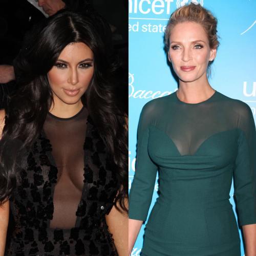 Kim Kardashian si Uma thurman cu decolteu acoperit