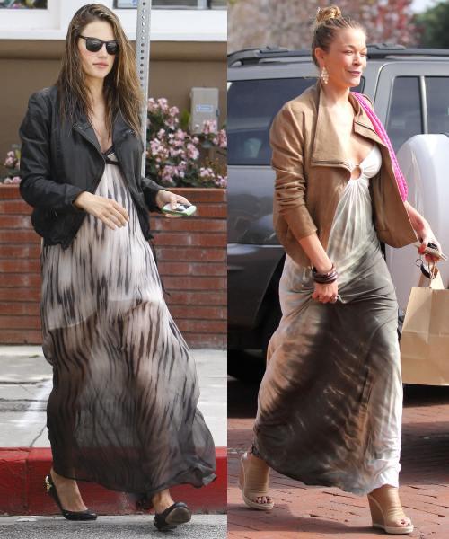 Alessandra Ambrosio, LeAnn Rimes poarta jacheta de piele cu fusta lunga