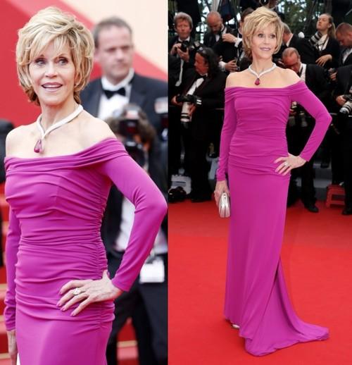 Foto: Wow! Jane Fonda arată uimitor în două rochii de gală, la Cannes
