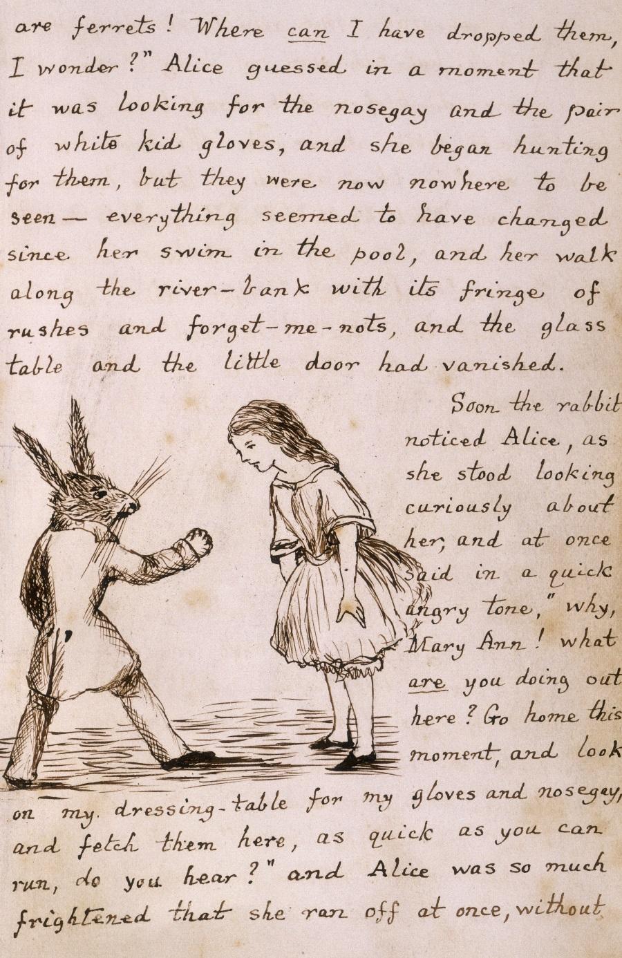 Manuscrisul Alice in Tara Minunilor