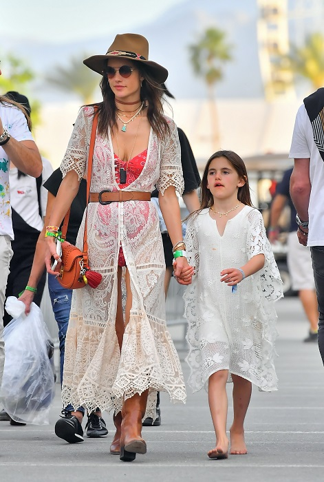 Alessandra Ambrosio and her daughter Anja match in lacy dresses while at Coachella