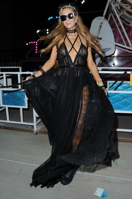 Paris Hilton seen at the Neon Carnival in Coachella