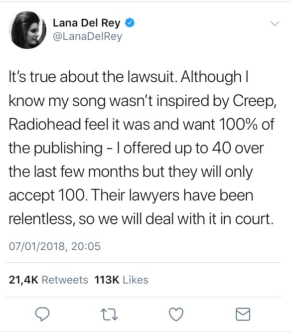 Artista Lana Del Rey, dată în judecată pentru plagiat