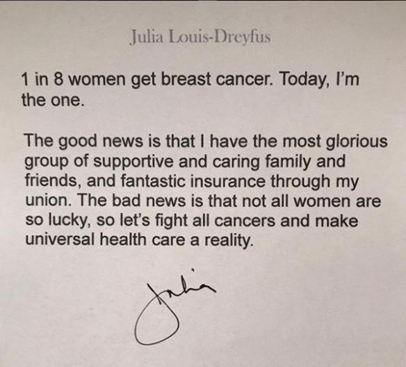 Actrița Julia Louis-Dreyfus a încheiat ședințele de chimioterapie