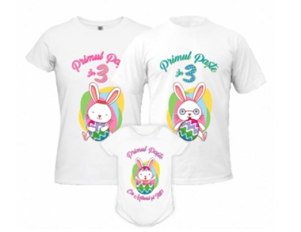 Cadouri de Paște-set tricouri de Paște cu mesajul primul Paște împreună