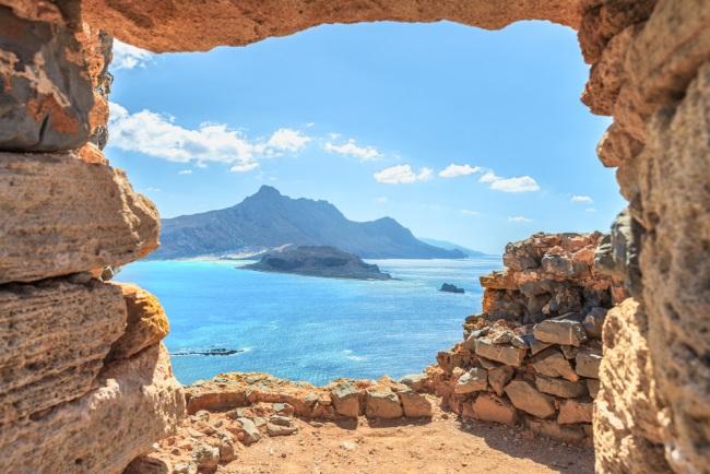 Balos lagoon ( famous world landmark ). Island of Imeri Gramvousa next to Crete .Chania. Greece. Europe
