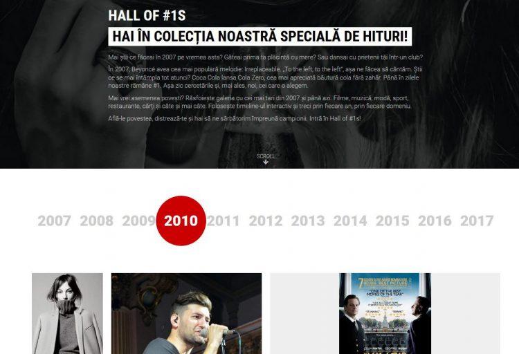 """Proiectul special """"Hall of #1s"""", realizat pentru clientul Coca Cola/Cola Zero și brandul Unica.ro"""