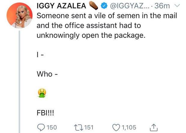 Iggy Azalea a primit un colet cu un conținut șocant