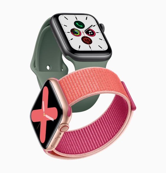 02_Apple_watch_series_5-gold-aluminum-case-pomegranate-band-and-space-gray-aluminum-case-pine-green-band-091019