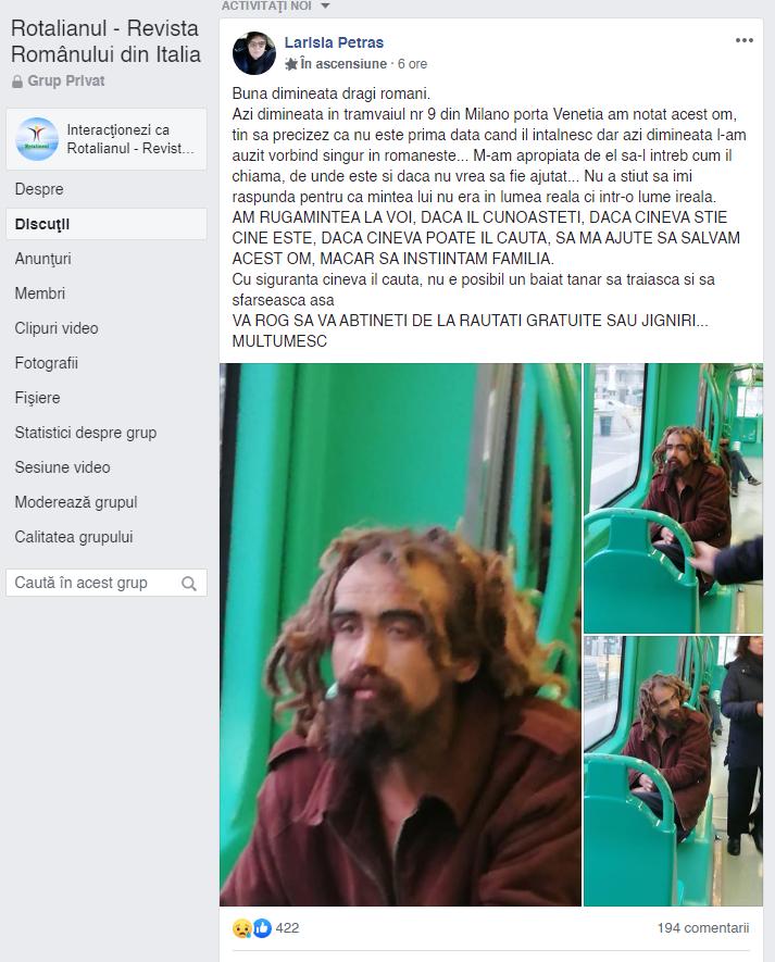 Român dispărut de 18 ani, găsit întâmplător într-un tramvai din Italia