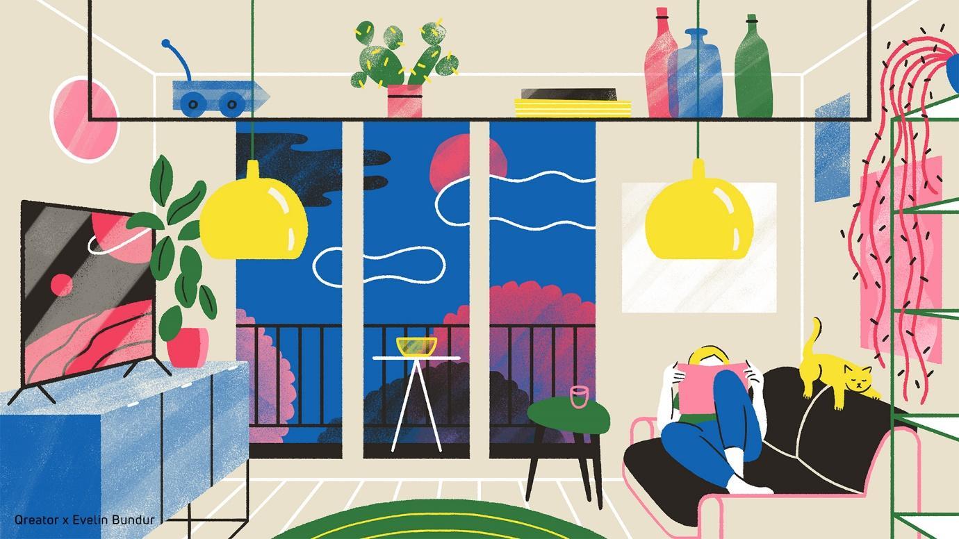 Acasă la Qreatori: 7 ilustratori români ne deschid ușile caselor lor printr-o serie de ilustrații care ne colorează viața digitală